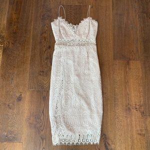 ASOS Lace Cami Midi Pencil Dress in Taupe